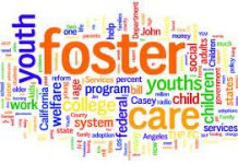 lots of different colourful words relating to foster care