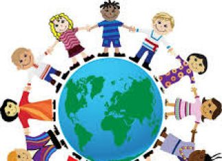 cartoon image depicting international friendship