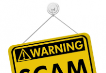 yellow and black poster warning SCAM