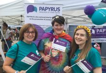 Alex with two PAPYRUS representatives at Wigan Pride earlier this year