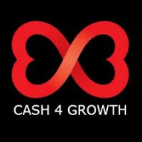 cash for growth red on black logo