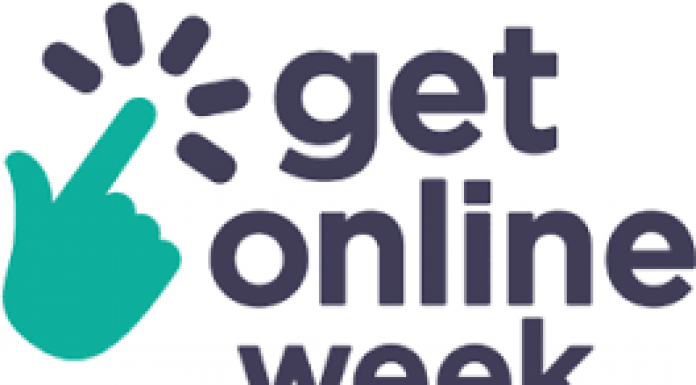 turquoise and blue logo for get on line week