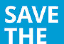 white on blue poster saying Save the Date