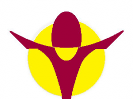 maroon yellow and blue logo