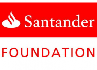 red and white logo for Santander