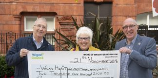 Leader of the council presents WHAMM with their cheque