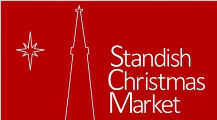 dark red background with white city scape outline for Standish Market