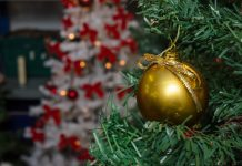 close up of a bauble on a christmas tree