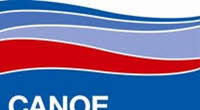blue white and red logo for the Canoe Foundation