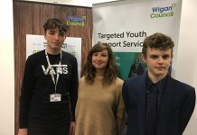 photo of Charlie and Anthony with Ren Hall from Youth Focus North West, who facilitate GMYCA