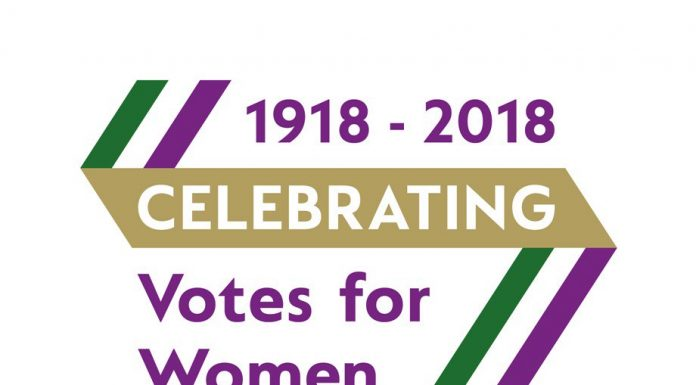 logo for celebrating votes for women