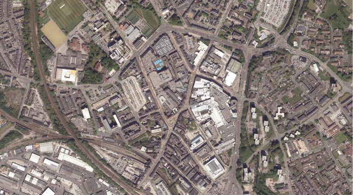 Wigan Town Centre aerial view