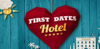 first dates hotel logo in the shape of a heart