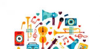 colourful illustration of musical instruments
