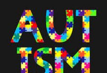 words stating Autism Awareness - and jigsaw puzzle