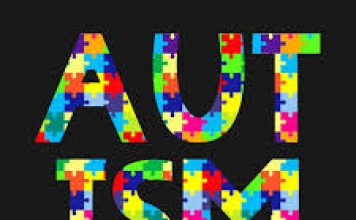 words stating Autism Awareness -and jigsaw puzzle