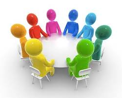cartoon image of group discussion