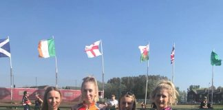 Britain's top four Women riders, from the Elite Women's Grand Prix 'A' Final at Gin Pit on Easter Sunday. L-r: Emily Burgess (2nd), Lauren Hookway (3rd), Macie Schmidt (1st), Laura Watson (4th). Photo courtesy of Corrie Burgess.