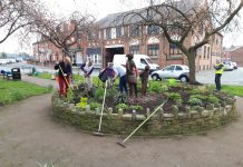 clean up and gardening session on the Blue bell Gardens, Atherton,
