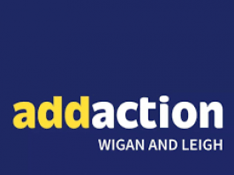 blue white and yellow logo for Addaction