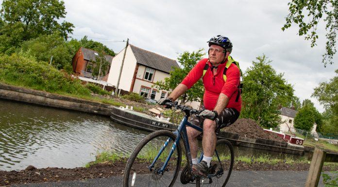 Astley Green canal cyclist