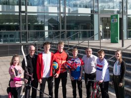 Photo: Left to right: Hannah Gardiner, Cllr Jim Moody, Harry Dunkerley, Oliver Cope, Charlie Meadows, Cllr Chris Ready, John White, Katie Eastwood Inspiring Healthy Lifestyles Club and Workforce Officer.