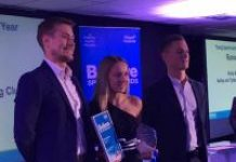 Emily Burgess is pictured receiving her Young Sports Achiever award.
