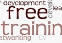 word cloud depicting free training