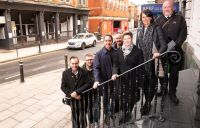 Sacha Lord on King Street with partners involved in the Safe Haven initiative in Wigan town centre