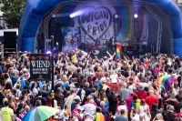 Crowds at Wigan Pride event