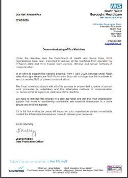 copy of NHS letter