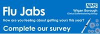 poster advertising flu jab survey
