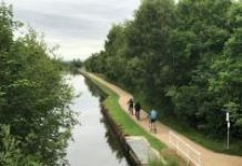 three cyclists on canal path
