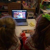Children talking to Santa on Zoom